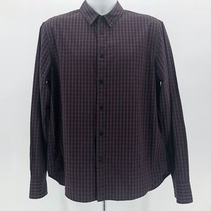 Rag & Bone Slim Fit Black & Maroon Plaid Shirt XL